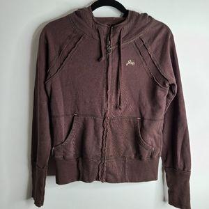 JOIE Hoodie Sweatshirts zip up Brown Distressed